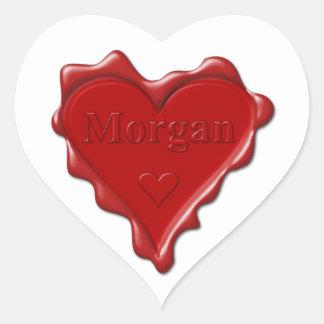 Sticker Cœur Morgan. Joint rouge de cire de coeur avec Morgan