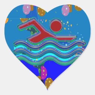Sticker Cœur NATATION :  Esprits frais en périodes chaudes