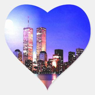Sticker Cœur New York City à l'autocollant de coeur de nuit