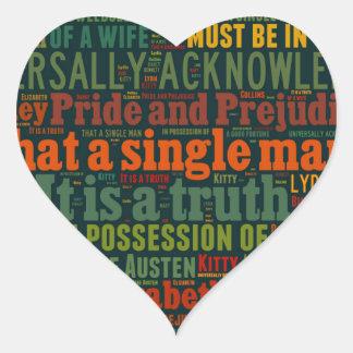 Sticker Cœur Nuage de mot de fierté et de préjudice