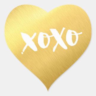Sticker Cœur Or brillant de l'AMOUR XOXO de faux moderne CHIC