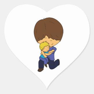 Sticker Cœur Papa et fils Chibis