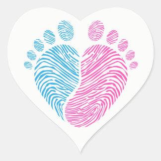 Sticker Cœur Pas de bébé