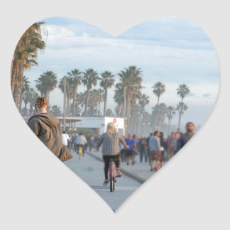 Sticker Cœur patinage à la plage de Venise