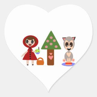 Sticker Cœur Petit pique-nique rouge de capuchons