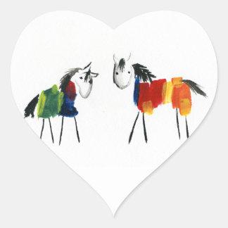Sticker Cœur Peu de poneys d'arc-en-ciel