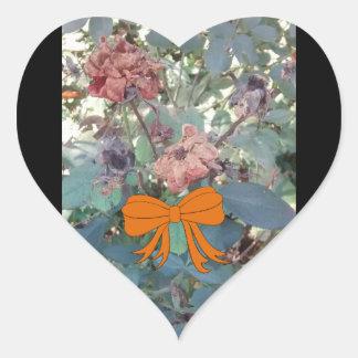Sticker Cœur Photo morte 2 de fleurs de Halloween