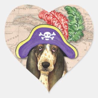 Sticker Cœur Pirate de Basset Hound