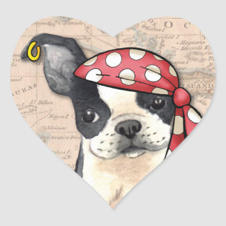 Sticker Cœur Pirate de Boston Terrier