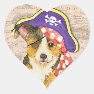 Sticker Cœur Pirate de corgi de Gallois