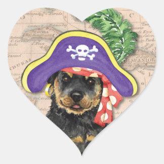 Sticker Cœur Pirate de rottweiler