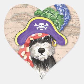 Sticker Cœur Pirate de Schnauzer miniature