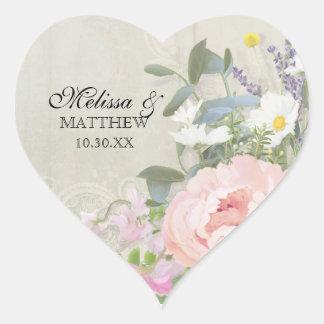 Sticker Cœur Pivoine florale sylvatique rustique crème du gris