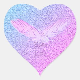 Sticker Cœur plumes. texte