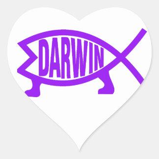 Sticker Cœur Poissons originaux de Darwin (pourpres)