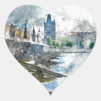 Sticker Cœur Pont de Charles dans la République Tchèque de