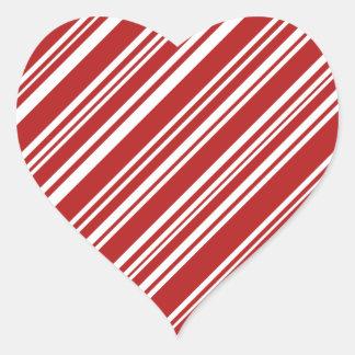 Sticker Cœur Rayures à angles rouges et blanches mélangées de