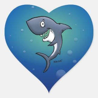 Sticker Cœur Requin drôle de sourire sur l'arrière - plan bleu