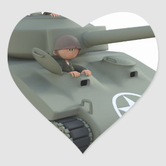 Sticker Cœur Réservoir et soldats de bande dessinée allant en