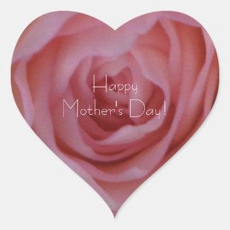 Sticker Cœur Rose rouge-rose élégant heureux du jour de mère