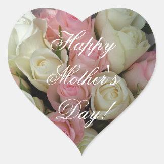 Sticker Cœur Roses blancs roses élégants heureux du jour de