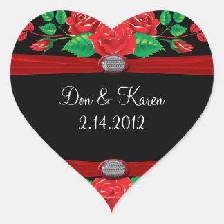 Sticker Cœur Roses rouges de vigne sur le coeur noir