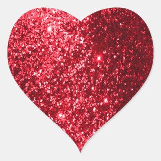 Sticker Cœur Rouge de scintillement de Faux