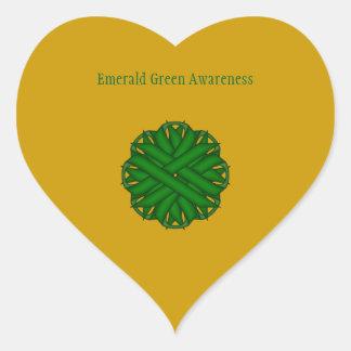 Sticker Cœur Ruban de fleur de vert vert