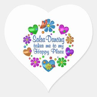 Sticker Cœur Salsa dansant mon endroit heureux