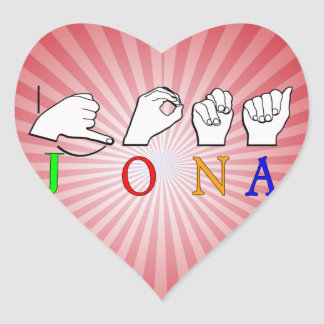 STICKER CŒUR SIGNE NOMMÉ DE JONA ASL FINGERSPELLED
