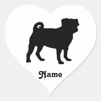 Sticker Cœur Silhouette noire de carlin - conception simple de