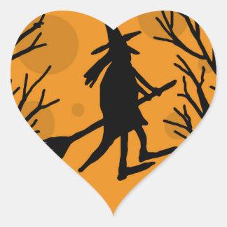 Sticker Cœur Sorcière de Halloween - lune orange