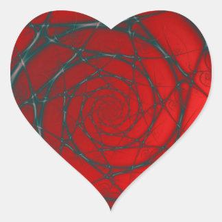 Sticker Cœur Spirale de fil sur l'autocollant rouge de coeur