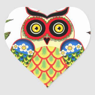 Sticker Cœur Style de hibou et de Mexicain de roses