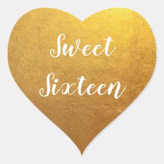 Sticker Cœur Sweet sixteen de photo d'or