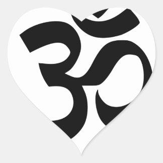 Sticker Cœur Symbole d'Aum (noir avec l'anneau argenté)