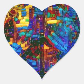 Sticker Cœur Symbole de paix coloré de mosaïque