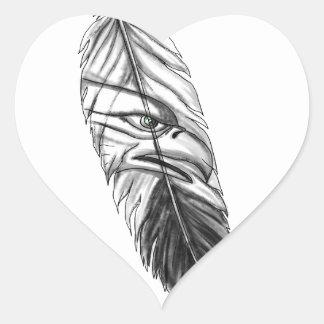 Sticker Cœur Tatouage de plume d'Eagle de mer