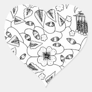 Sticker Cœur Textile indonésien fleuri avec des oiseaux