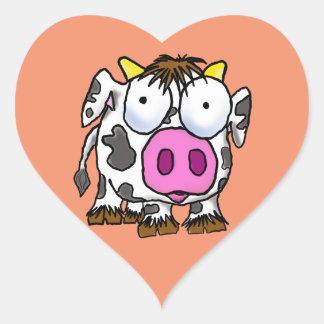 Sticker Cœur Vache mignonne à bande dessinée