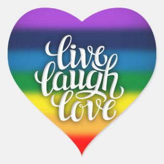 Sticker Cœur Vivent l'autocollant d'arc-en-ciel d'amour de rire