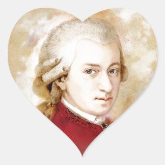 Sticker Cœur Wolfgang Amadeus Mozart dans l'aquarelle style