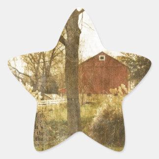 Sticker Étoile Cabine rouge primitif de ferme d'arbre de pays