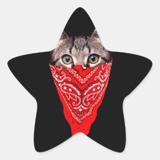 Sticker Étoile chat de bandit - chat de bandana - bande de chat
