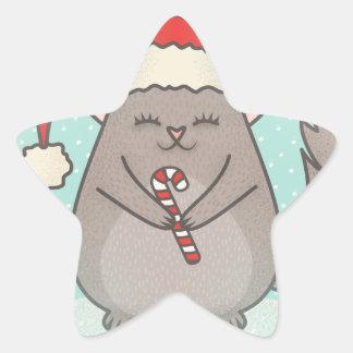 Sticker Étoile chinchillas de Noël