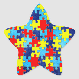 Sticker Étoile Conscience-Puzzle d'autisme par Shirley Taylor