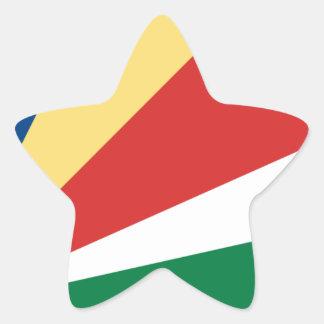 Sticker Étoile Coût bas ! Drapeau des Seychelles