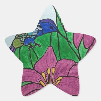Sticker Étoile Fleurs d'oiseau de ronflement
