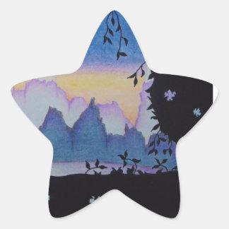 Sticker Étoile Illustration bleue de paysage de coucher du soleil