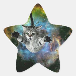 Sticker Étoile Lancement de chaton d'univers de chat de galaxie